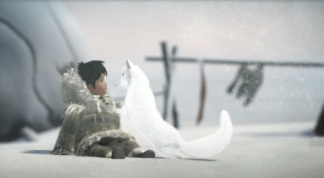 A screenshot of Nuna and the fox, from Never Alone (E-Line Media)