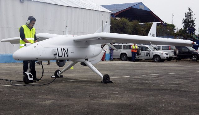 A technician checks a surveillance Unmanned Aerial Vehicles (UAV) drone operated by the United Nations in the Democratic Republic of Congo's eastern city of Goma, Dec.3, 2013. (Reuters)