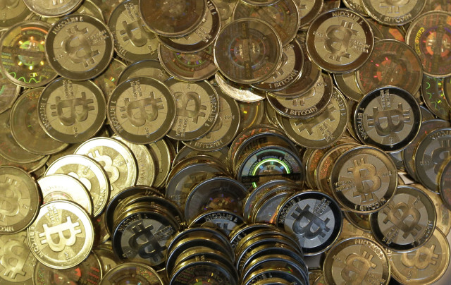 An image of Bitcoin tokens in Sandy, Utah, Feb. 25, 2014. (AP)