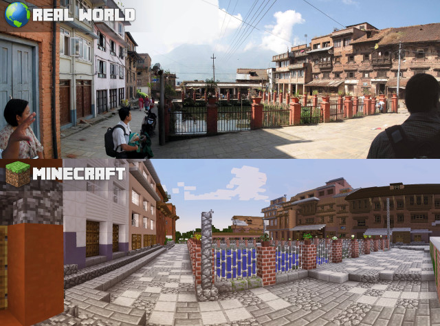 A combo shows the redesign concept in Minecraft (bottom) and the real world (top) redesign of a public space in Kirtipur, Nepal. (UN-Habitat)