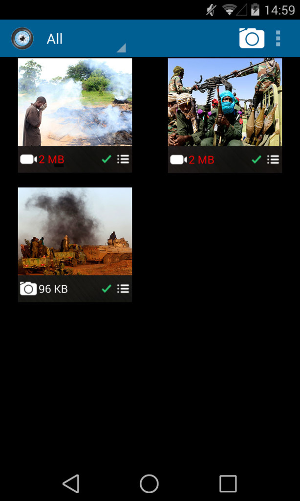 A screenshot shows a selection of images on the eyeWitness app for Android mobile devices, courtesy the eyeWitness Project.