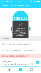 A screenshot from the app, Code Blue/ (Melon Health)