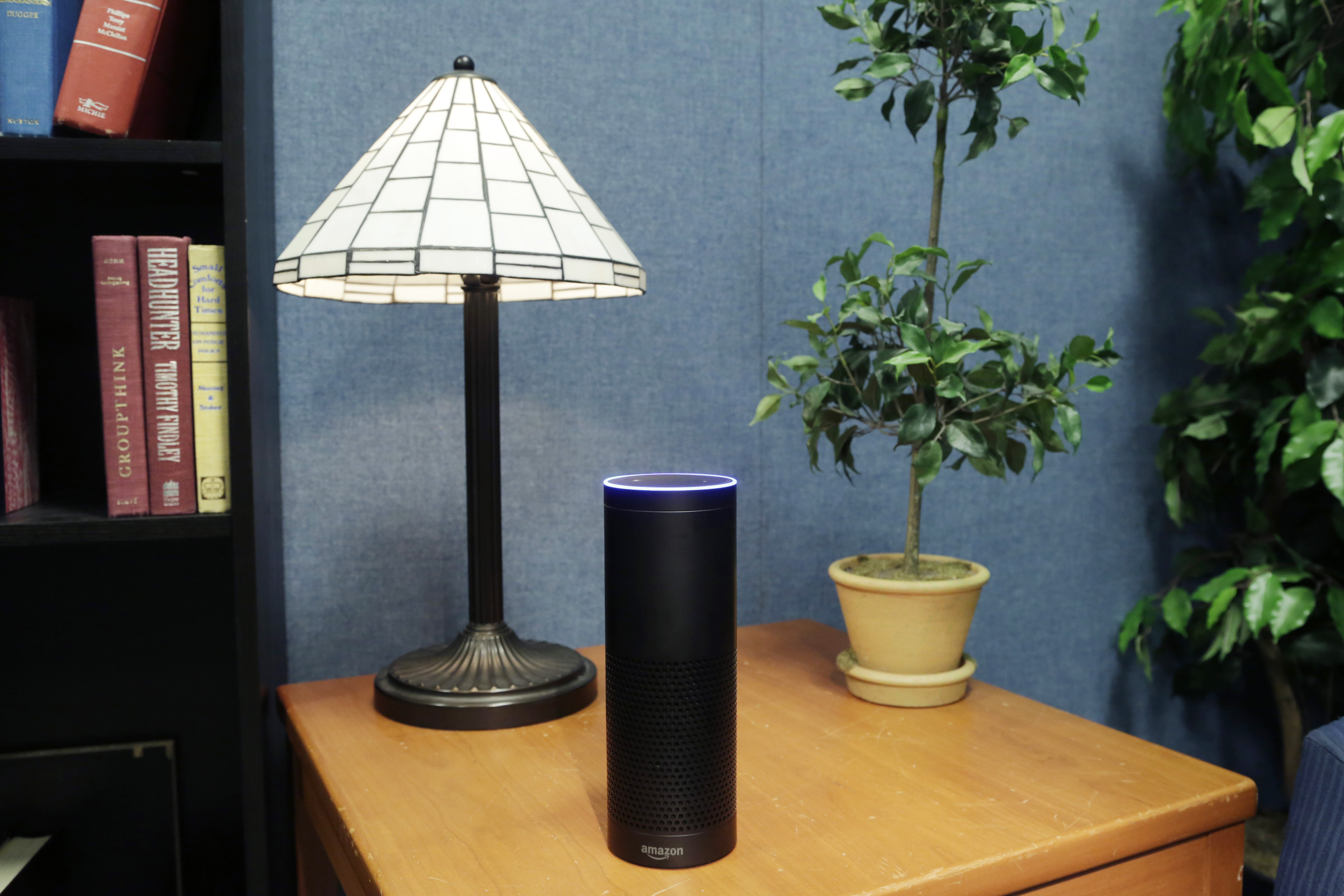 Amazon's Echo, an Internet-connected digital assistant that can be set up in a home or office to listen for various requests, such as songs, sports scores or the weather, is shown in New York, July 29, 2015.  (AP)