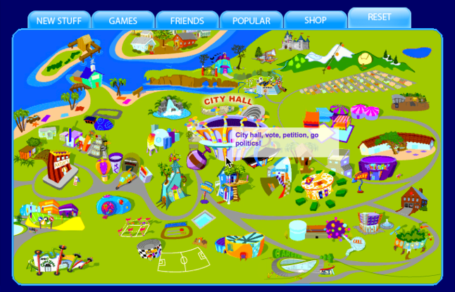Whyville is a virtual island located off the coast of Southern California. Citizens visit the many locations on the map to chat, play games and learn together. (Numedon)