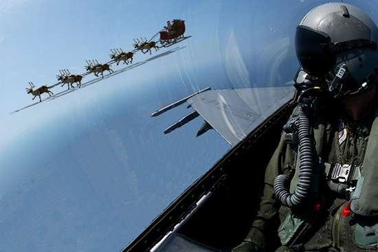 "For 60 years, NORAD fighter jets have intercepted Santa many times. When the jets intercept Santa, they tip their wings to say, ""Hello Santa! – NORAD is tracking you again this year!"" (NORAD Public Affairs)"