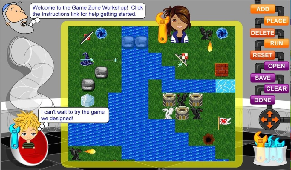 Whyville's game design platform, sponsored by AMD, allows citizens to design games together.  Other citizens play and rate the published games, and the game designers earn clams when their games are played. (Numedeon)