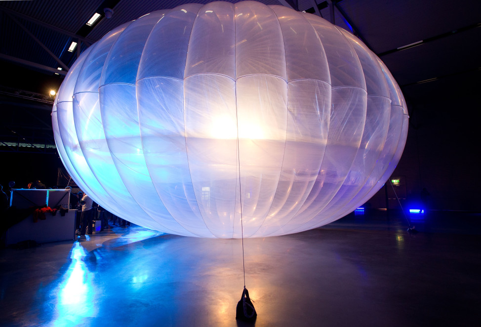 FILE - A high altitude Wi-Fi internet hub Google Project Loon balloon is displayed at the Airforce Museum in Christchurch, New Zealand. (AFP)