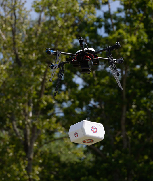A Flirtey drones delivers medical supplies in Wise County, Virginia, in the first FAA-approved drone delivery in the U.S. (Flirtey)