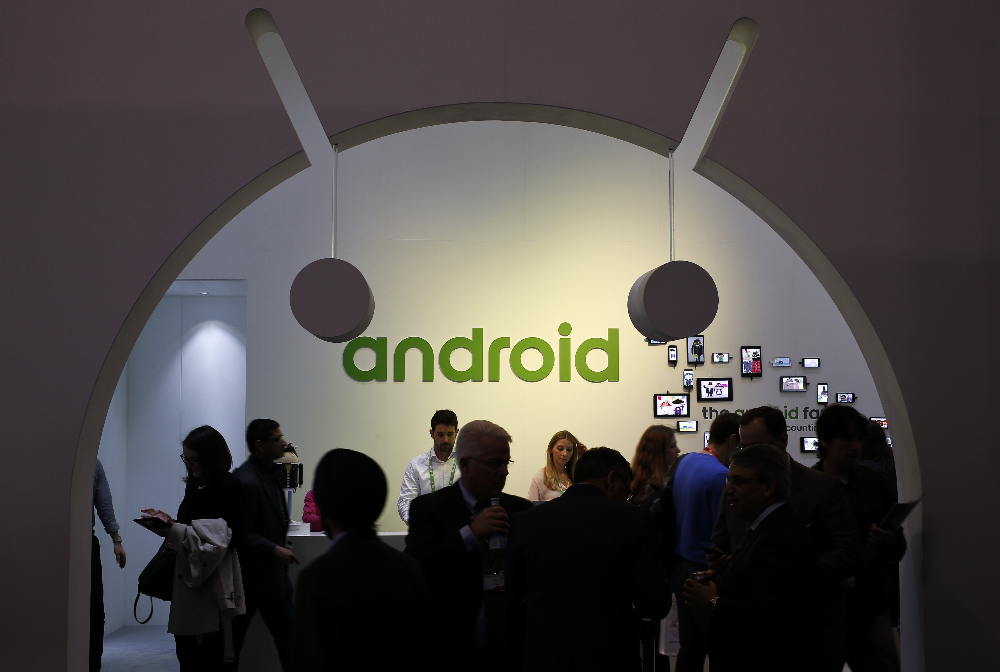 FILE - People visit an Android stand at the Mobile World Congress in Barcelona, Spain, March 4, 2015. (Reuters)