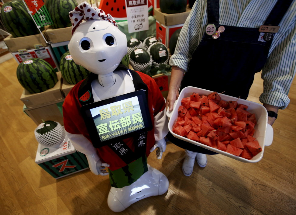 FILE = SoftBank's human-like robot named 'Pepper' poses for pictures in its role as a PR manager of Tottori prefecture at the prefecture specialty store in Tokyo, Japan, July 1, 2015. (Reuters)