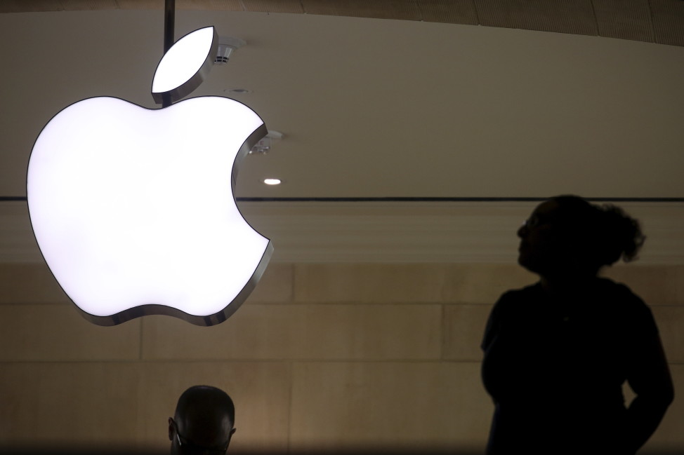 The Apple logo is pictured at Grand Central Terminal in the Manhattan borough of New York, Feb. 21, 2016.