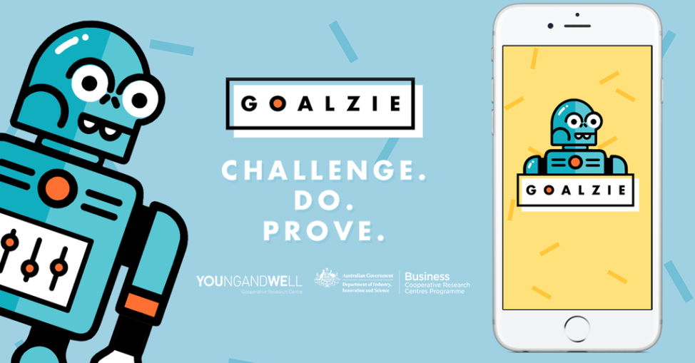 A screenshot from Goalzie, an app designed to encourage young people toset goals and ask for heal when under stress to avoid more serious mental health issues. (Courtesy of the Safe and Well Online project of the Young and Well Cooperative Research Centre)