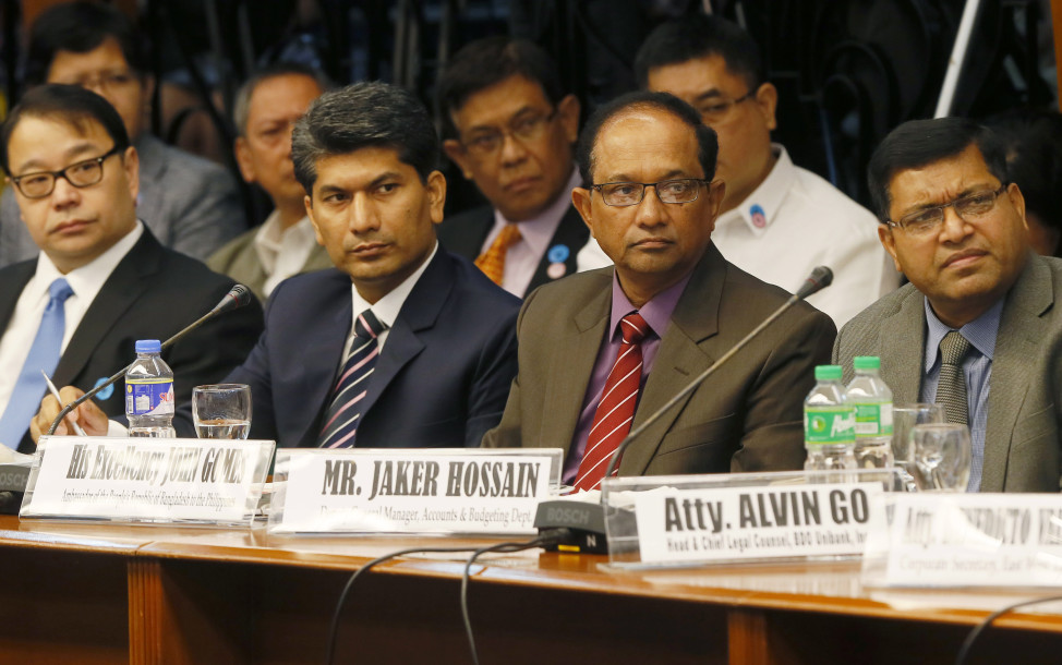 Before revelations of this recent voter database breach,  millions of funds stolen from Bangladesh were diverted online to accounts in the Philippines. (L-R) Lorenzo Tan, President of Rizal Commercial Banking Corporation, Mohammad Abdur Rab, Joint Director, Bangladesh Financial Intelligence Unit, John Gomes, Bangladeshi Ambassador to the Philippines, Jaker Hossain, Bank of Bangladesh Deputy General Manager, Accounts and Budgeting Department listen during a Philippine Senate probe into the missing funds, April 5, 2016, Manila.