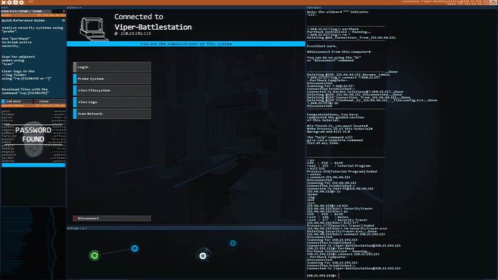 Another screenshot from shows hacking activity from the game 'Hacknet.' (Matt Trobbiani)