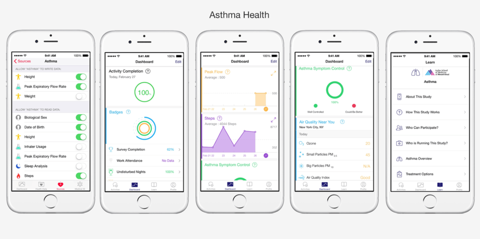 A screenshot shows various features of the health app used in Mount Sinai's Asthma Mobile Health study in New York. (Icahn Institute at Mount Sinai)