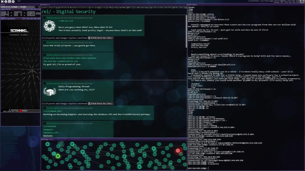 A screenshot from the game, 'Hacknet' shows a message that players read to get hints about targeted systems available missions. The design is intended to replicate message boards linked to anonymous hackers. (Matt Trobbiani)