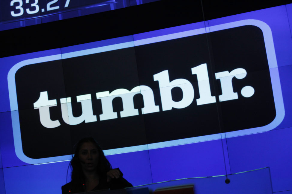 FILE - The Tumblr logo is displayed at Nasdaq, in New York. (AP)