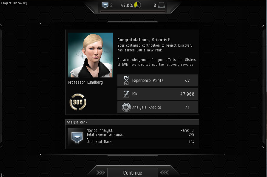 A screenshot from Project Discovery shows the corporation achievement window that tells EVE Online playershow far they have progressed in their research. (Project Discovery in EVE Online by CCP)