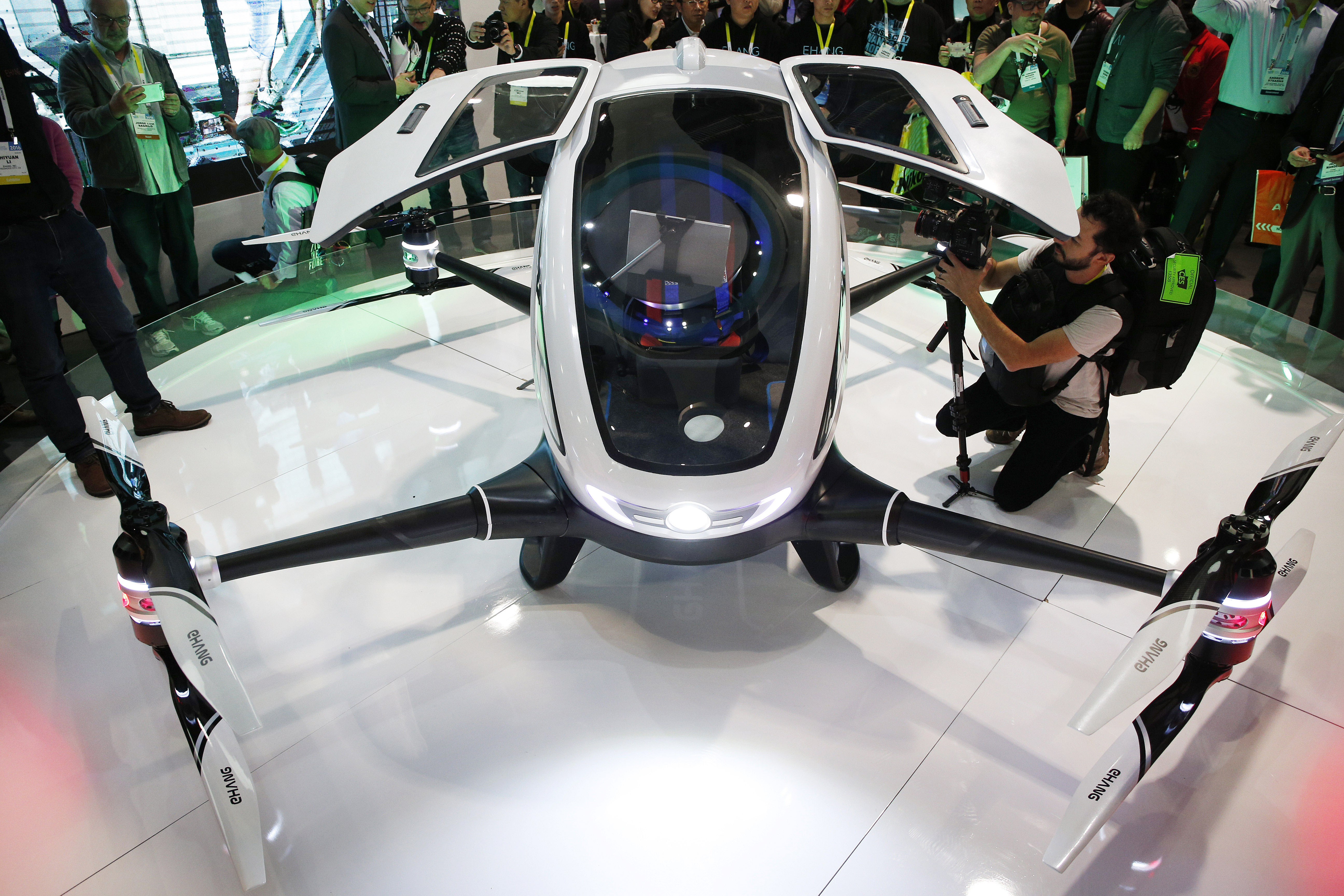 The EHang 184 autonomous aerial vehicle is unveiled at the EHang booth at CES International, Wednesday, Jan. 6, 2016, in Las Vegas, Nevada. (AP)