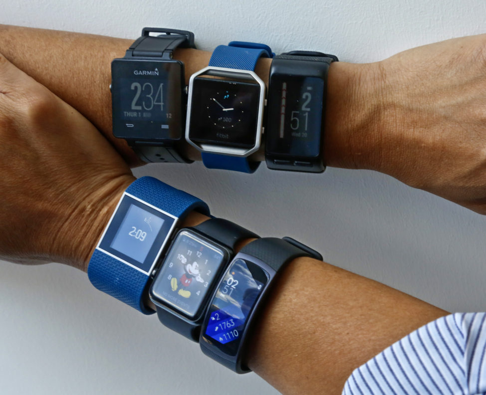 Six fitness tracking devices measuring step counts and other fitness features are featured in New York, July 20, 2016. (AP)