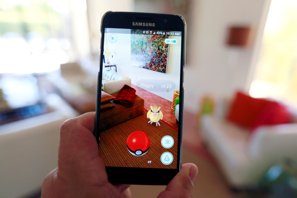 The augmented reality mobile game 'Pokemon Go' by Nintendo is shown on a smartphone screen in this photo illustration taken in Palm Springs, California U.S. July 11, 2016. (Reuters)