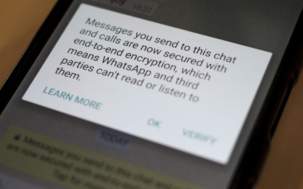 A security update message is seen on a Whatsapp message in this illustration photo, April 6, 2016. (Reuters)