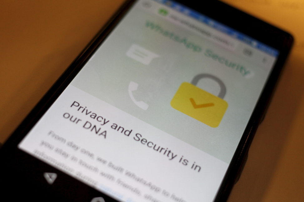 A security message is seen on a Whatsapp screen in this illustration photo April 6, 2016. (Reuters)