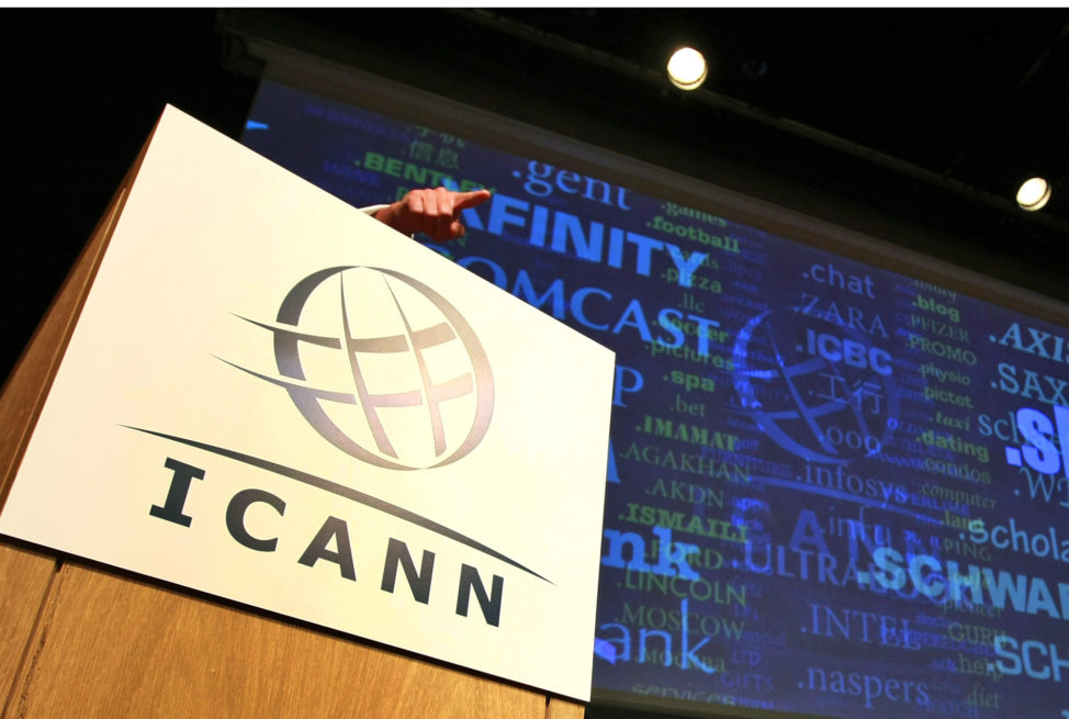 FILE – The logo of the Internet Corporation for Assigned Names and Numbers, ICANN, is seen in London, Britain.