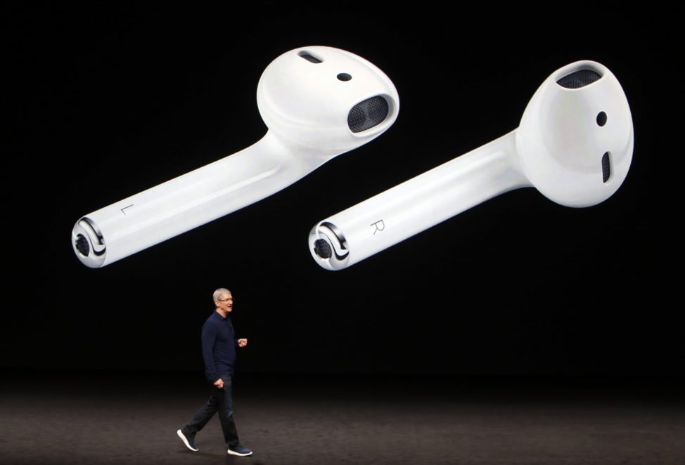 AirPods are displayed as Apple Inc CEO Tim Cook makes his closing remarks during an Apple media event in San Francisco, California, US, Sept. 7, 2016. (Reuters)