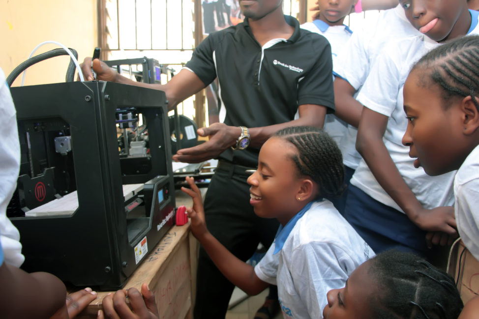 Nigerian students learn about 3-D printing in a class offered by the Youth for Technology Foundation. (Youth for Technology Foundation)