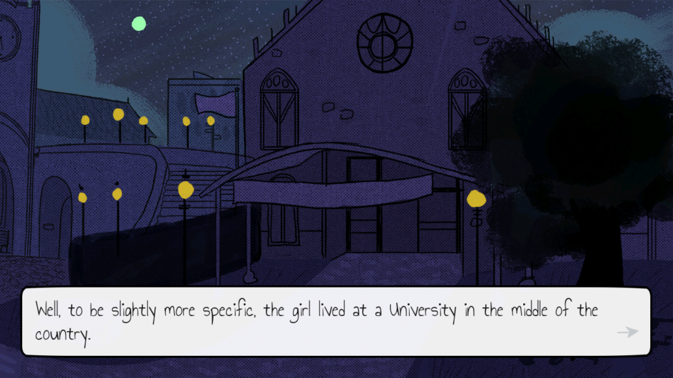 Screenshot from the game, 'The Average Everyday Adventures of Samantha Browne,' introducing the character in the story. (Reimena Yee)