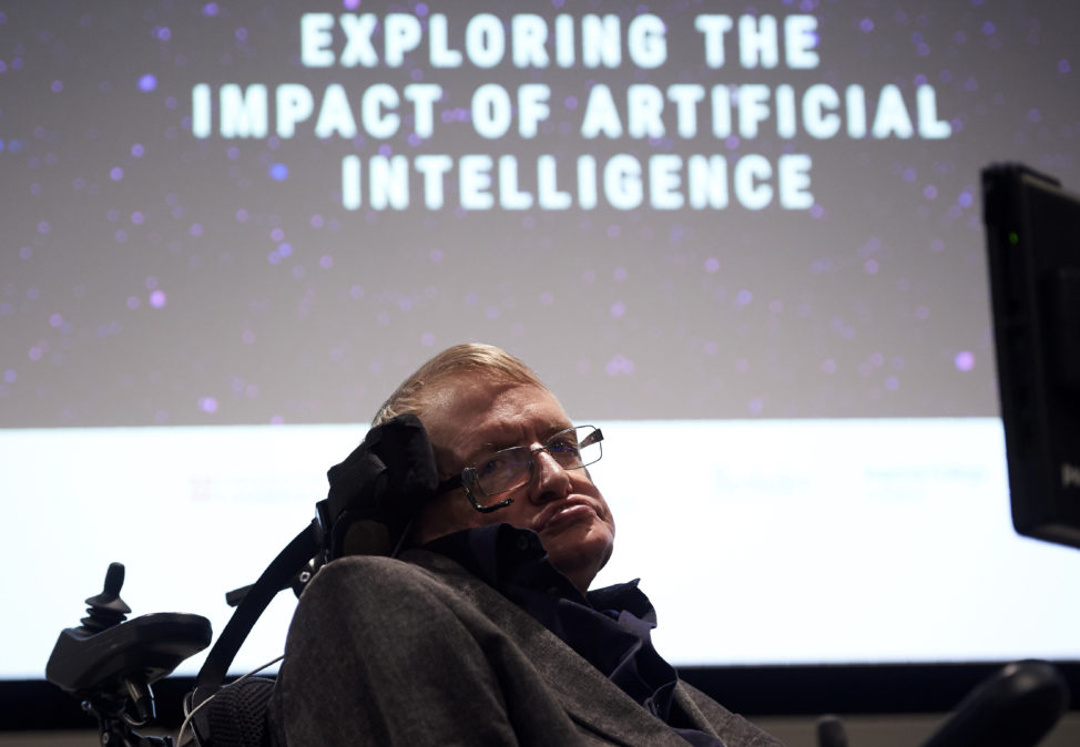 British scientist Stephen Hawking arrives to attend the launch of The Leverhulme Centre for the Future of Intelligence (CFI), at the University of Cambridge, in Cambridge, eastern England, on Oct. 19, 2016. (AFP)