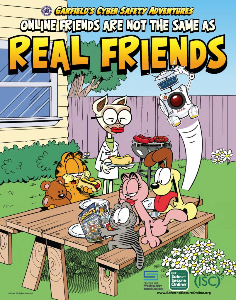 A graphic from the poster for 'Garfield's Cyber Safety Adventures,' a comic book that aims to teach kids about privacy and online safety. (Center for Cyber Safety and Education)