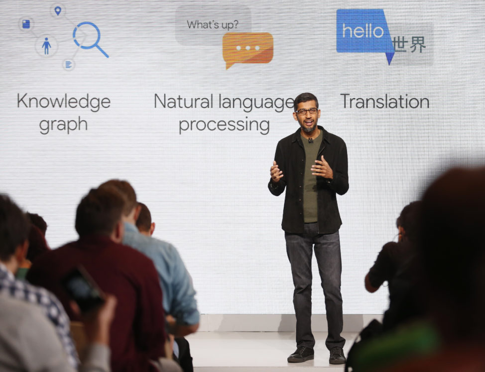 Google CEO Sundar Pichai speaks during the presentation of new Google hardware in San Francisco, California, U.S. Oct. 4, 2016. (Reuters)