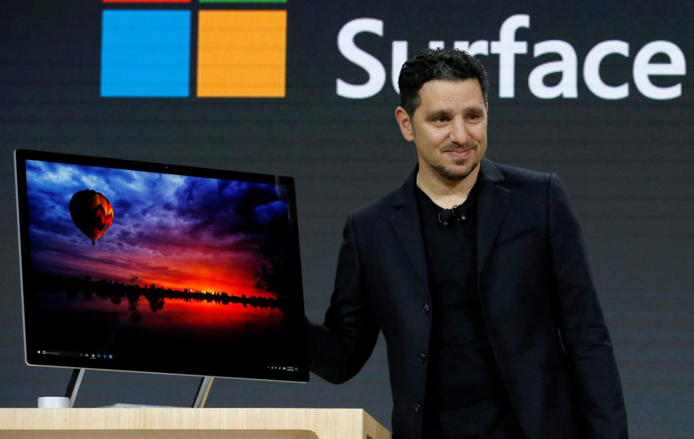 Panos Panay, Corporate Vice President for Surface Computing demonstrates the new Microsoft Surface Studio computer at a live event in the Manhattan borough of New York City, Oct. 26, 2016. (Reuters)