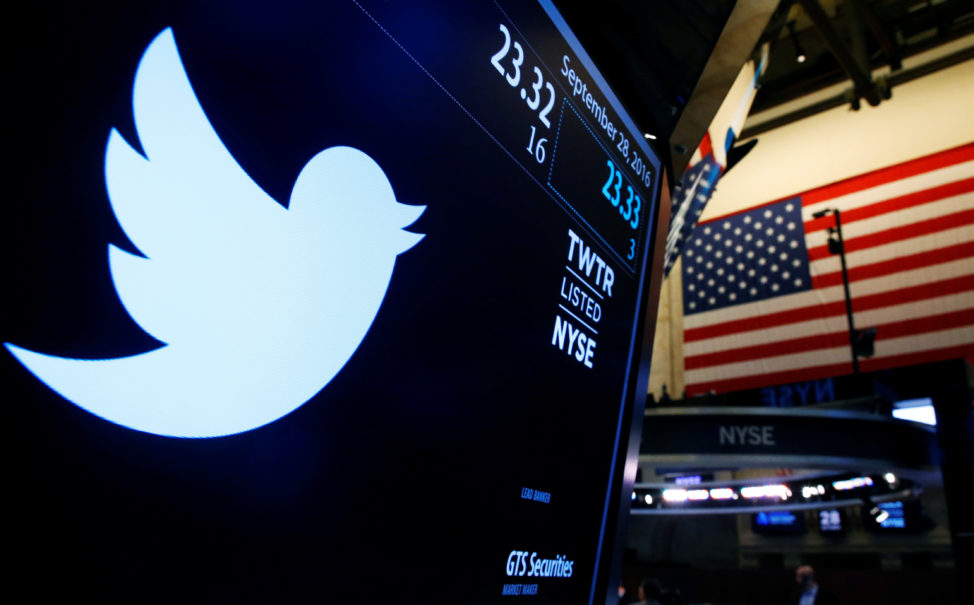 The Twitter logo is displayed on a screen at the New York Stock Exchange, New York City, Sept. 28, 2016. (Reuters)