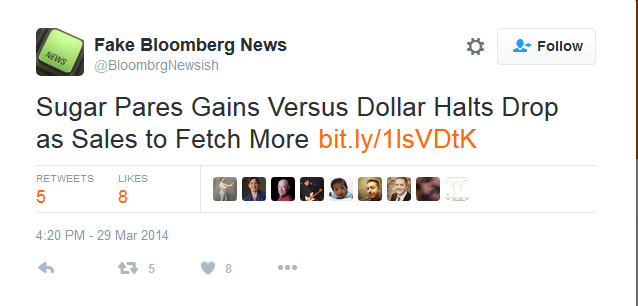 A screenshot from the 'Fake Bloomberg News' bot account, now suspended, on Twitter. (Twitter)