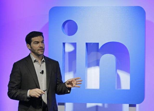LinkedIn CEO Jeff Weiner speaks during a product announcement at his company's headquarters in San Francisco.