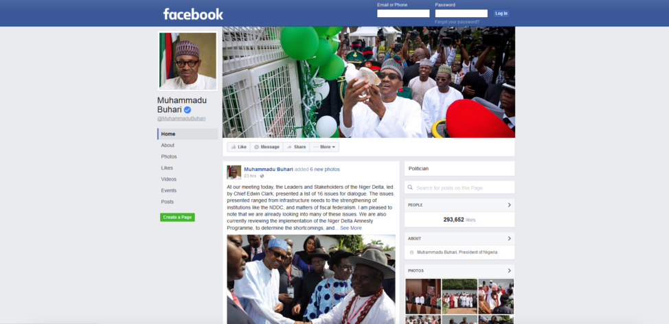 The Facebook page of Nigerian President Muhammadu Buhari. (Facebook)