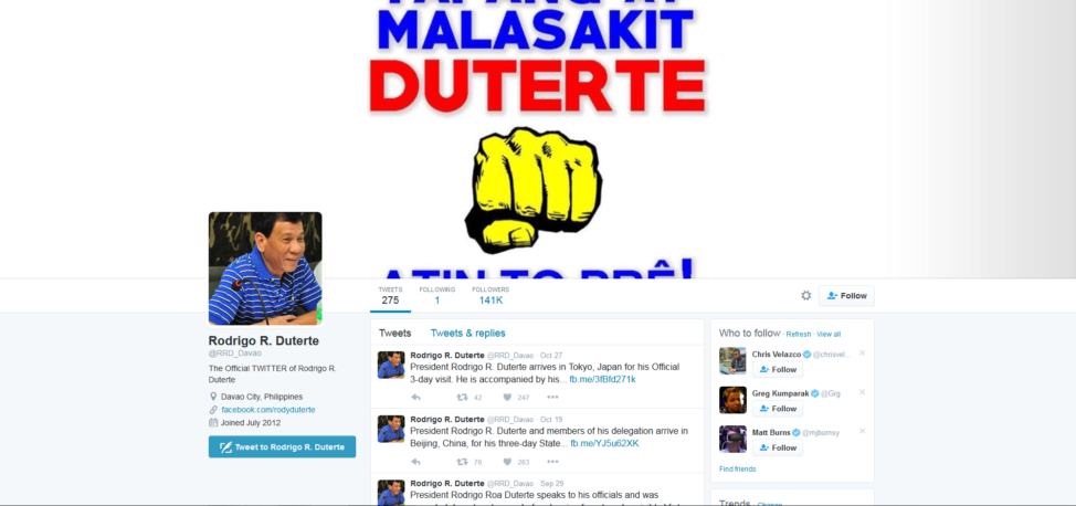 A screenshot from Philippines' President Duterte's Twitter page. (Twitter)
