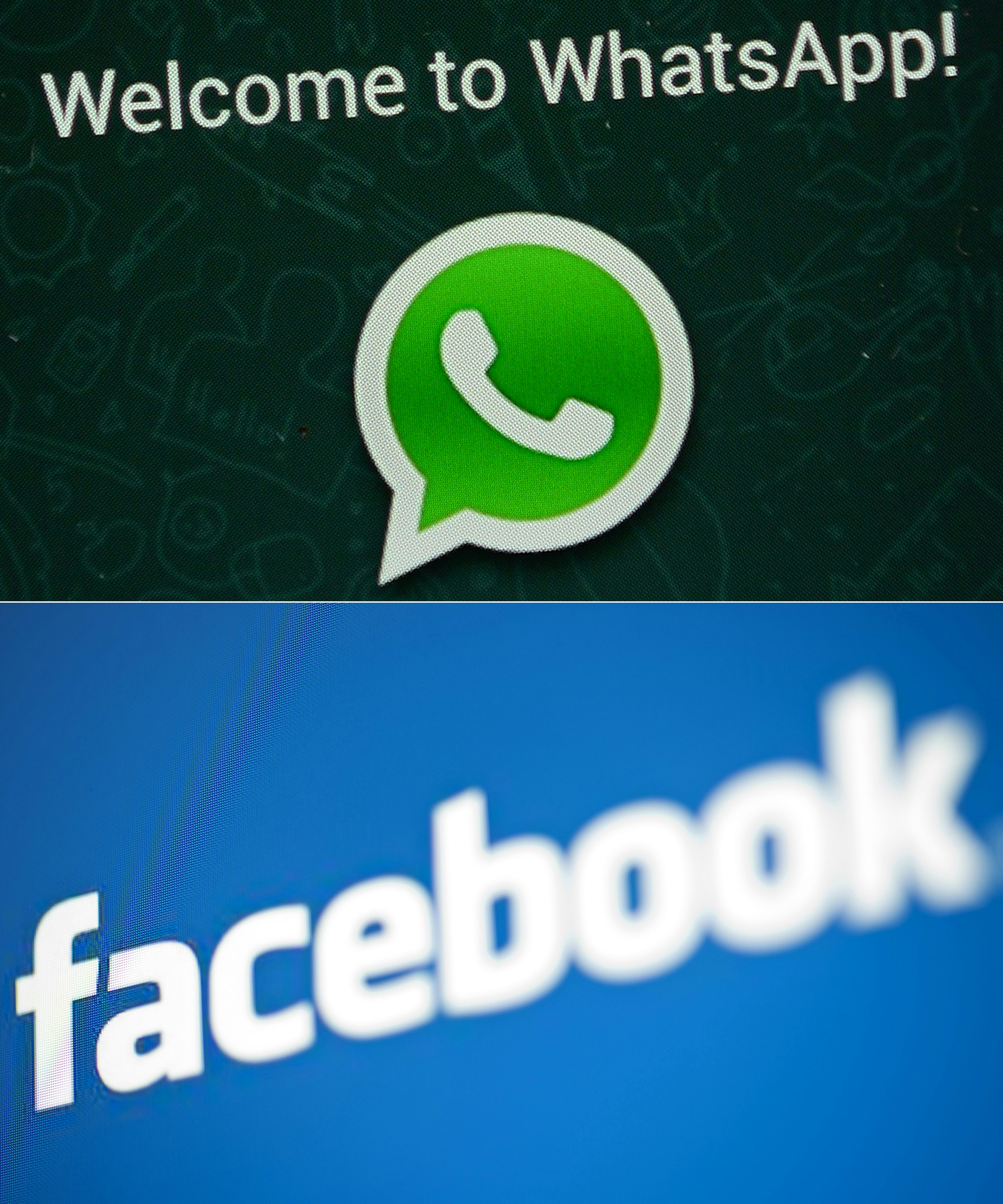 This combination of file pictures created on Dec. 20, 2016 shows the logos of WhatsApp (top) and Facebook. (AFP)