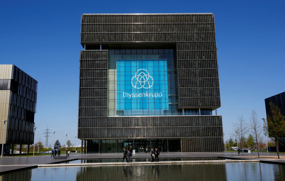 FILE - The logo of ThyssenKrupp is seen at the headquarters of the steel maker and multinational conglomerate in Essen, Germany, April 20, 2016. (Reuters)