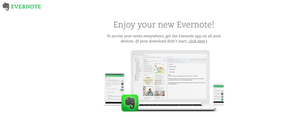 A screenshot from Evernote's websites, showing its mobile app.