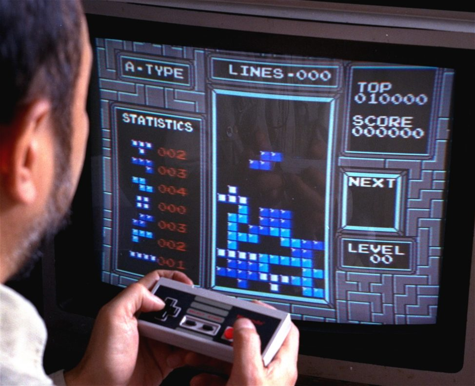 FILE - Tetris, an addictive brain-teasing video game, is shown as played on the Nintendo Entertainment System in New York, June 1990. (AP)