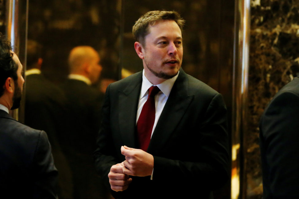 FILE - Tesla Chief Executive, Elon Musk enters the lobby of Trump Tower in Manhattan, New York, U.S., Jan. 6, 2017. (Reuters)