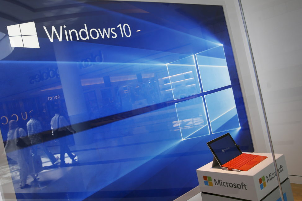 FILE - A display for the Windows 10 operating system is seen in a store window at the Microsoft store at Roosevelt Field in Garden City, New York. (Reuters)