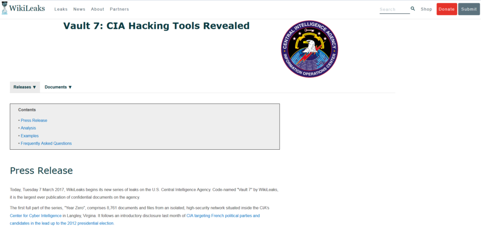 A screenshot from WikiLeaks' website shows the documents purportedly taken from the U.S. Central Intelligence Agency and revealing the extent of the agency's hacking powers. (WikiLeaks Website)