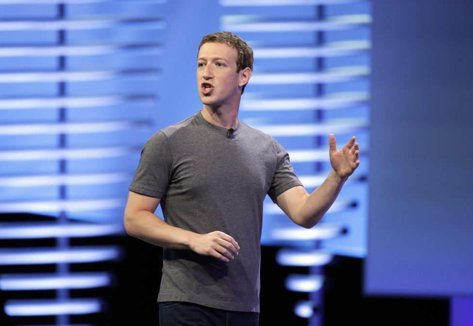 FILE - Facebook CEO Mark Zuckerberg delivers the keynote address at the F8 Facebook Developer Conference in San Francisco, April 12, 2016. (AP)