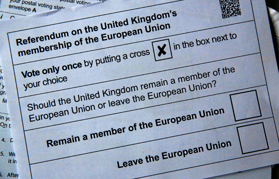 FILE - An illustration picture of postal ballot papers ahead of the June 23 Brexit referendum to decide whether Britain will remain in the European Union, London, June 1, 2016. (Reuters)
