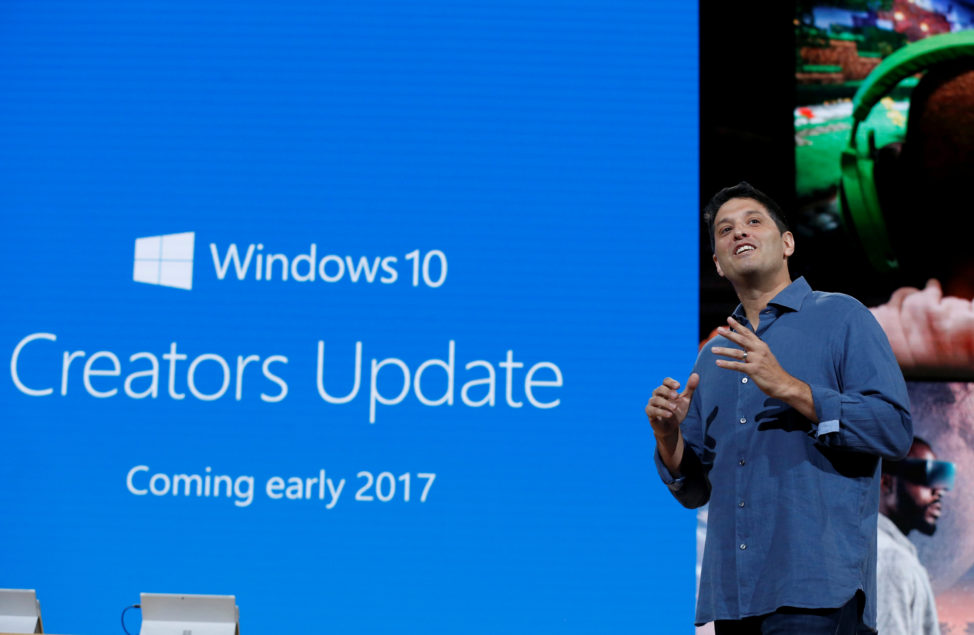 "FILE - Terry Myerson, Microsoft Executive Vice President of the Windows and Devices Group speaks about Microsoft's Windows 10 ""Creators Update"" at a live Microsoft event in the Manhattan borough of New York City, Oct. 26, 2016. (Reuters)"